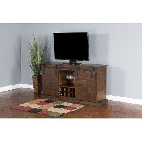 Dark Chocolate Barn Door TV Console