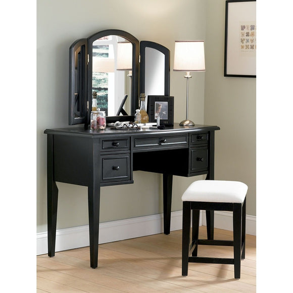 BLACK VANITY W/BENCH & MIRROR