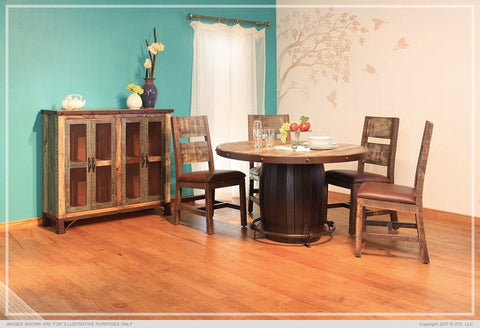 Antique Multicolor Dining W/Barrel Base Round Table Set