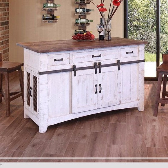White antique finish on distressed wood, Kitchen Island by IFD