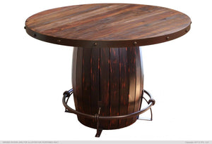 Antique Multicolor Dining W/Barrel Base Round Table Collection