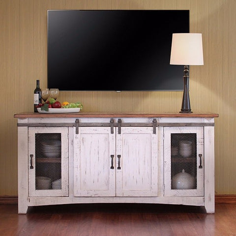 "70"" TV Stand w/4 doors & Shelves inside"