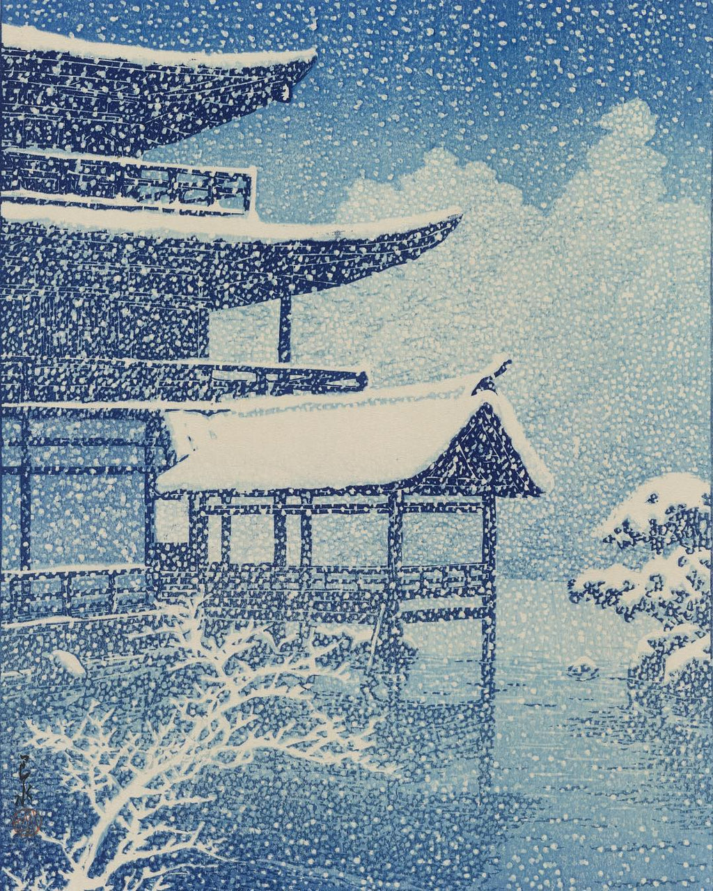 Snow near Kyoto, Japan by Kawase Hasui, 1922