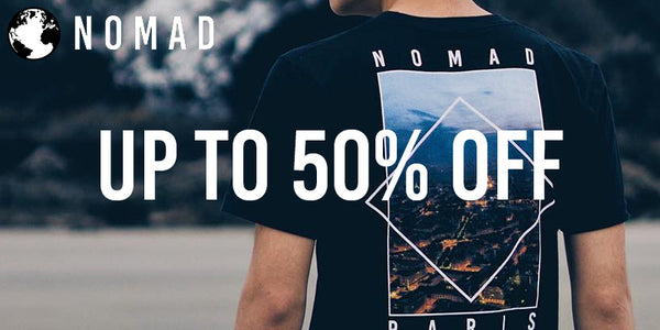 Up to 50 percent off streetwear and mens fashion in celebration of Nomad Streetwear's one year anniversary.