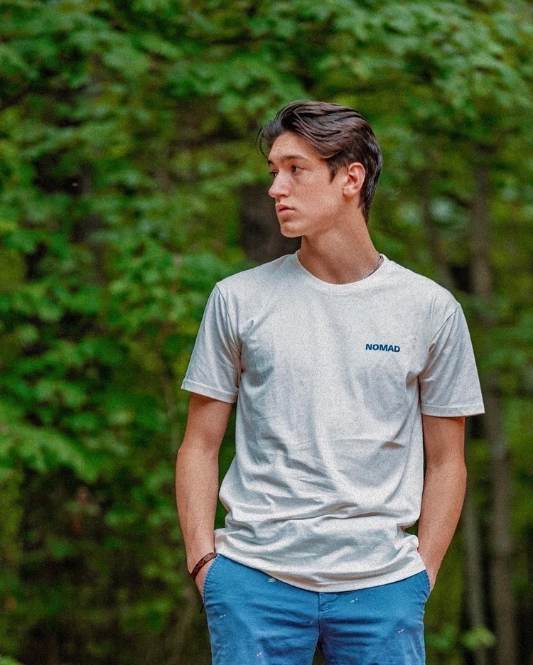 Diego Pulido in The World Is Yours Shirt, shot in Lake Norman, South Carolina. Front View.
