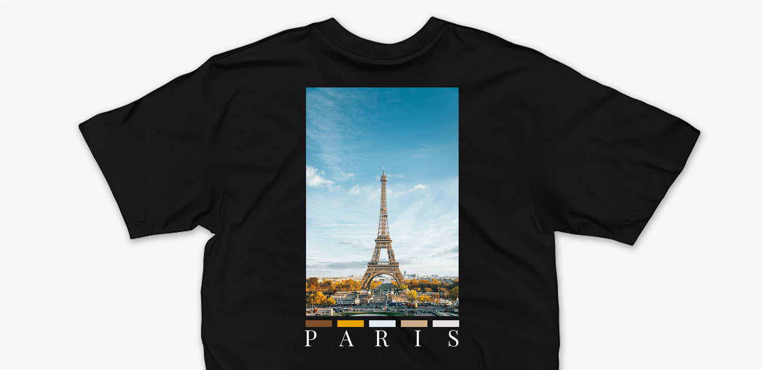 Black paris back print t-shirt by nomad creative works featuring the eiffel tower.