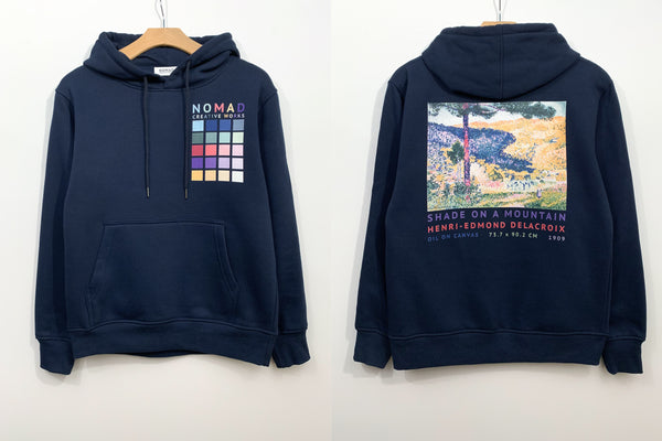 Cotton Hoodie In Navy Featuring Valley With Fir / Shade On A Mountain By Henri Edmond Cross ( Henri-Edmond Delacroix ) by Nomad Creative Works