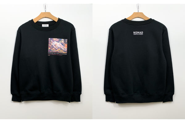 Cotton Sweatshirt In Black Featuring Dormeuse Nue Dans La Clariere / Sleeping Nude In The Glade By Henri Edmond Cross ( Henri-Edmond Delacroix ) by Nomad Creative Works