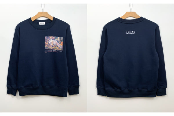 Cotton Sweatshirt In Navy Featuring Dormeuse Nue Dans La Clariere / Sleeping Nude In The Glade By Henri Edmond Cross ( Henri-Edmond Delacroix ) by Nomad Creative Works