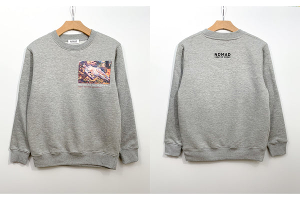 Cotton Sweatshirt In Grey Featuring Dormeuse Nue Dans La Clariere / Sleeping Nude In The Glade By Henri Edmond Cross ( Henri-Edmond Delacroix ) by Nomad Creative Works