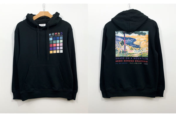 Cotton Hoodie In Black Featuring Valley With Fir / Shade On A Mountain By Henri Edmond Cross ( Henri-Edmond Delacroix ) by Nomad Creative Works