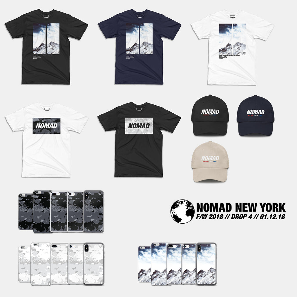 Part 4 of Nomad Streetwear Fall / Winter 2018 collection featuring graphic t-shirts, hats, and iPhone cases.