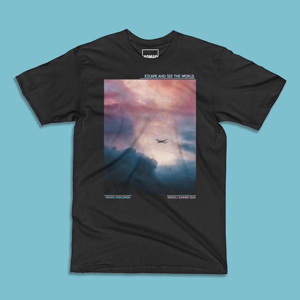 The escape tee by Nomad New York  featuring a plane soaring through the clouds