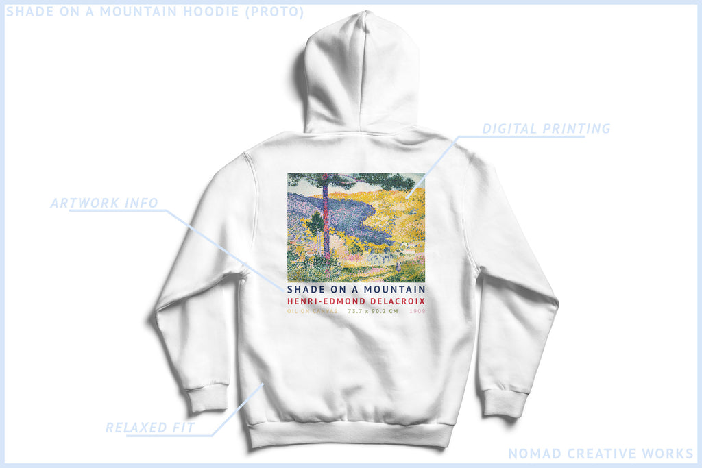 White Streetwear Hoodie Inspired by Henri Edmond Delacroix Painting Shadow On A Mountain by Nomad Creative Works