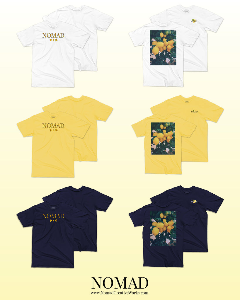Lemon Summer Collection by Nomad Creative Works, featuring 2 designs inspired by Italian Lemons, Lemonade, and Limoncello in 3 classic colors: Navy, White, and Lemon Yellow.