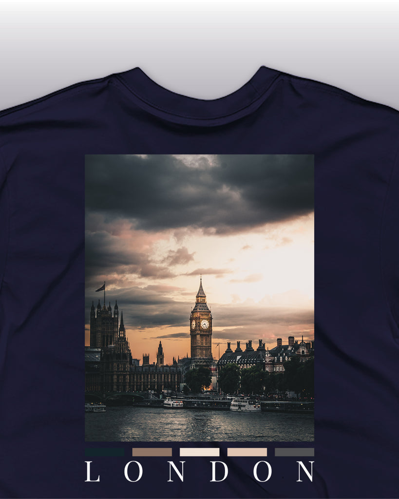 The london back print t-shirt in Navy detailed view, featuring a back print of the london skyline.