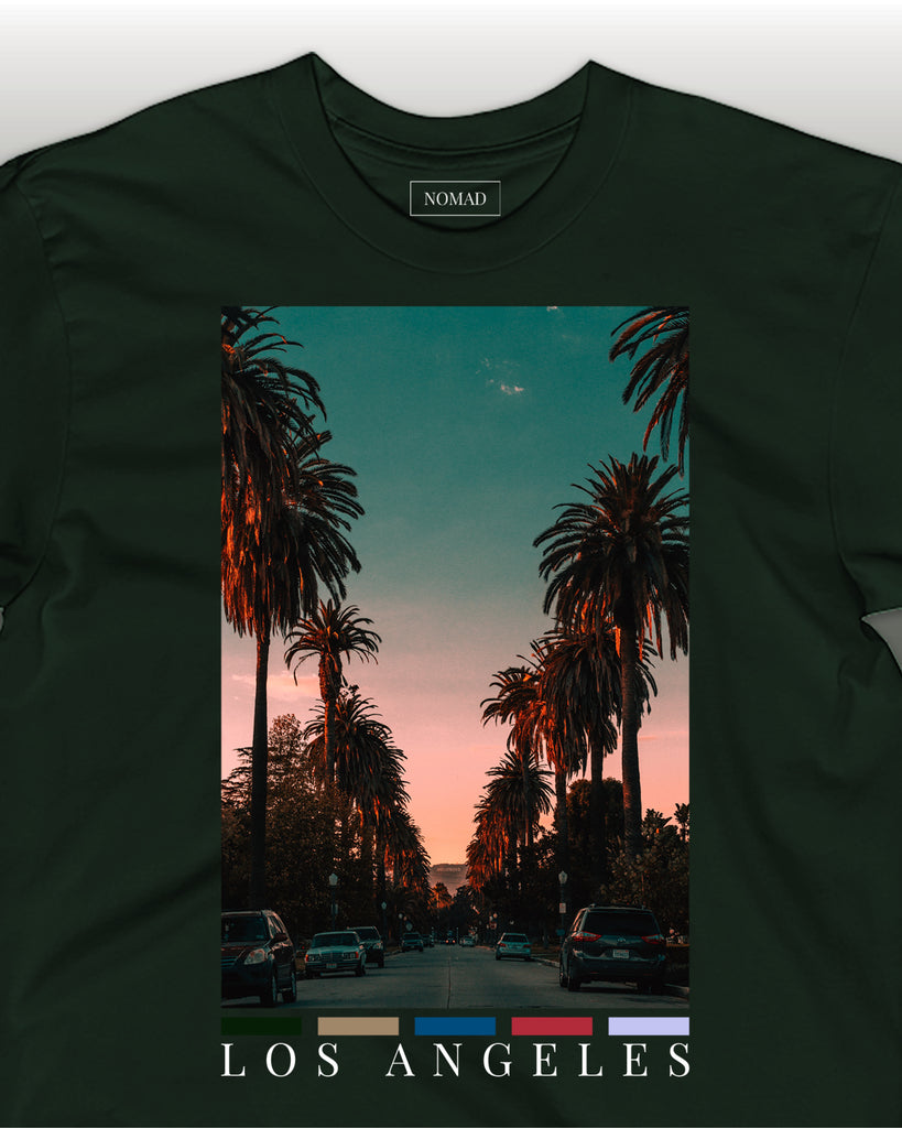 The la front print t-shirt by nomad creative works, featuring symbolic palm trees from los angeles.