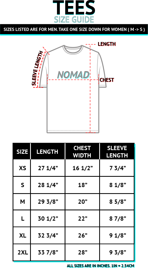 NOMAD T SHIRT SIZE GUIDE