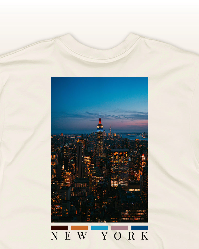 The New York Back Print t-shirt inspired by the new york skyline by nomad creative works.