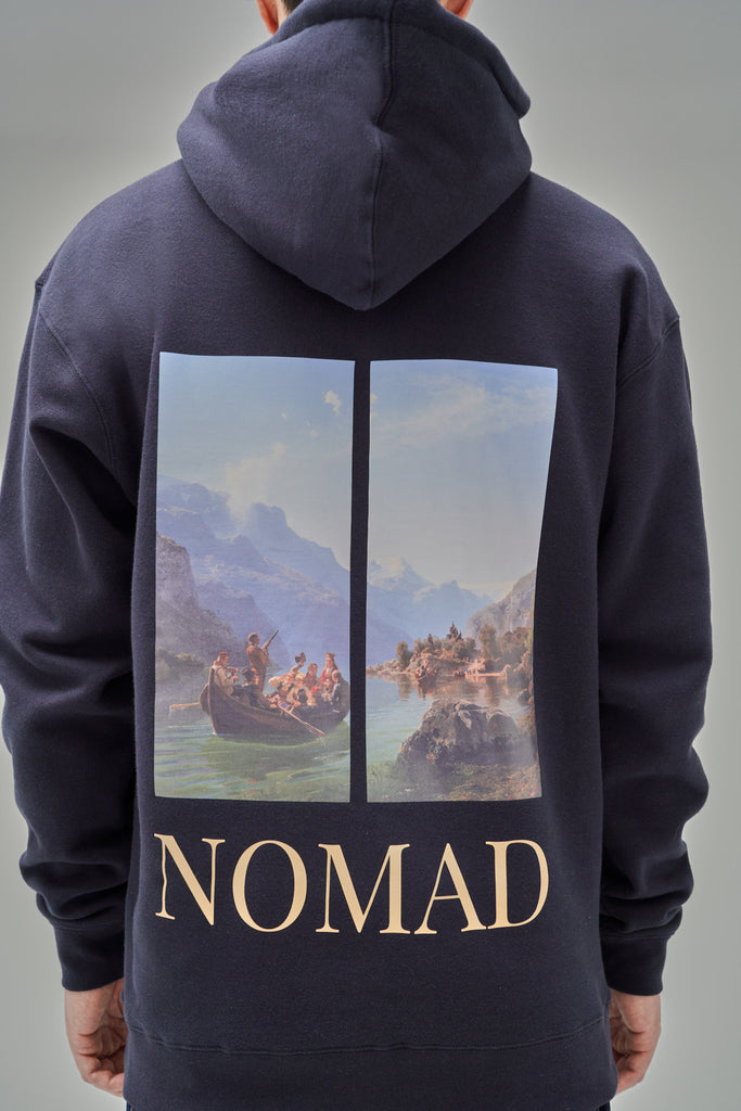 Nomad Fall 2020 Look 1 Fjord Hoodie in Navy (back view)