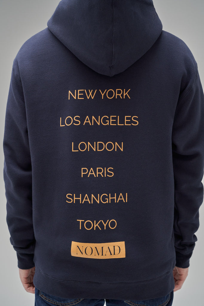 Nomad Fall 2020 Look 2 International Hoodie in Navy (back view)