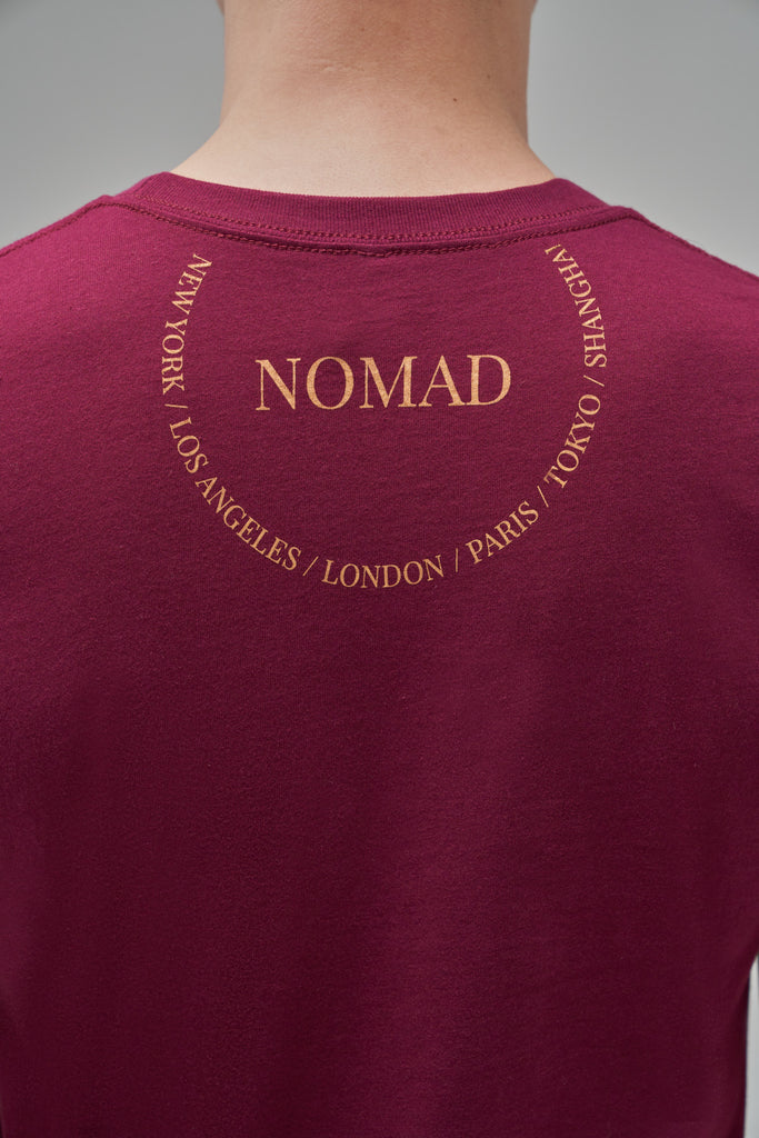 Nomad Fall 2020 Look 7 International T-Shirt in Burgundy (back view)