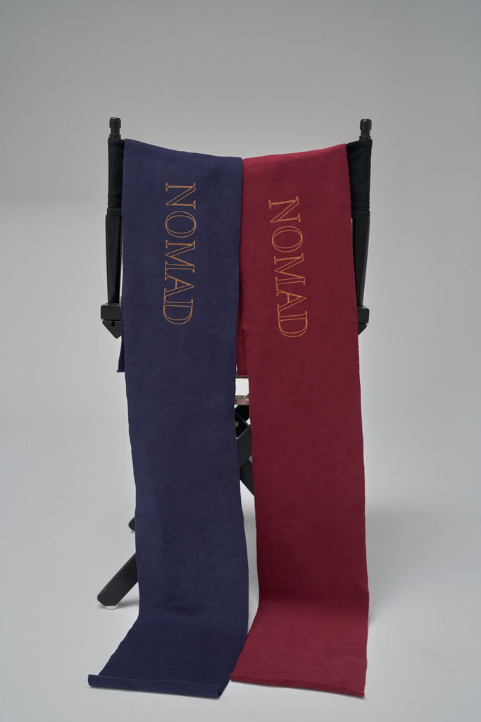 Nomad Fall 2020 Look 8 Burgundy & Navy Sweater Scarf