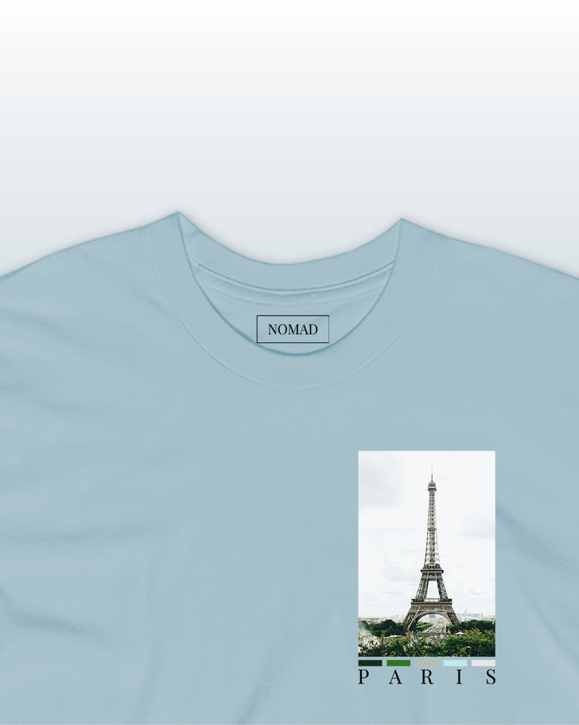 The paris chest print t-shirt featuring a front chest print of the eiffel tower, by nomad creative works.