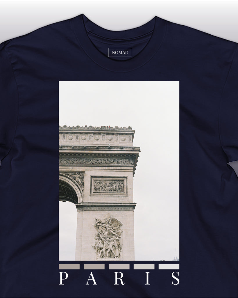 The paris front print t-shirt by nomad creative works in navy, featuring a front print of the arc-de-triomphe in paris.