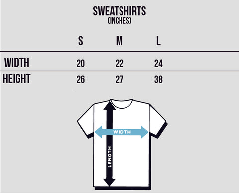 Travel Inspired Streetwear by Nomad New York. Sweatshirts Sizing Chart.