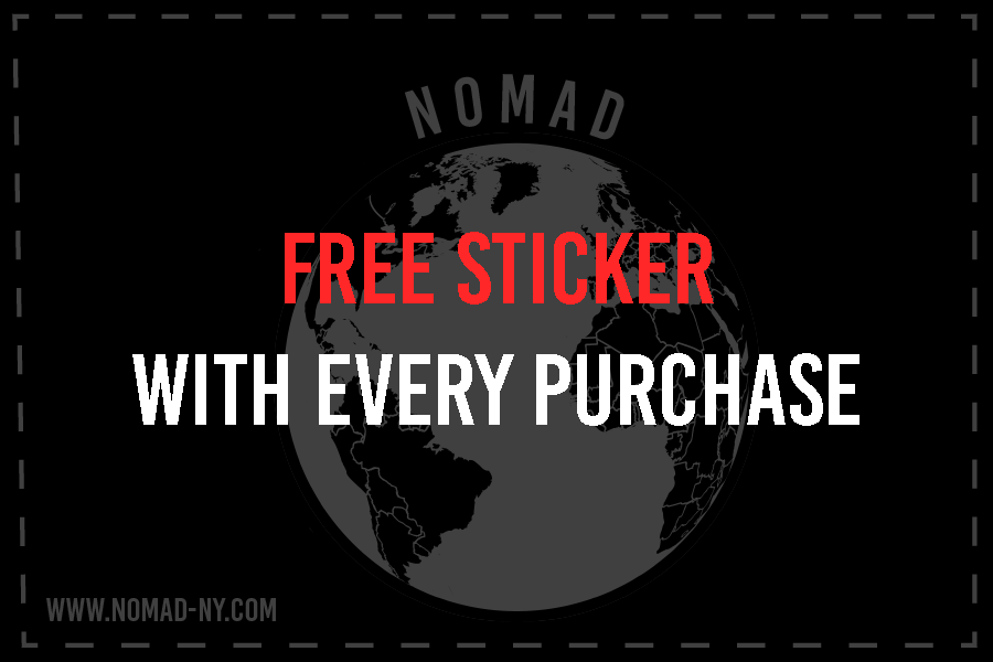 Nomad New York Travel Inspired Streetwear announces free stickers with every purchase.