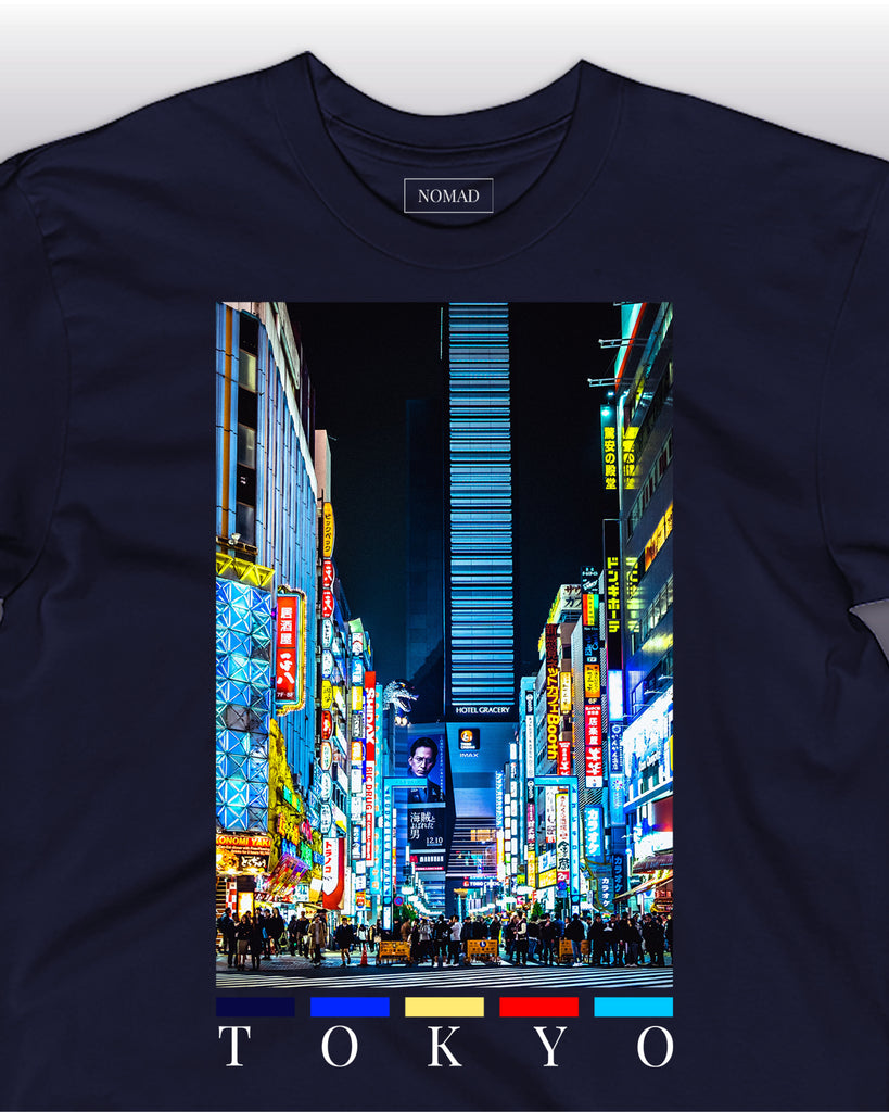 The tokyo front print t-shirt by nomad creative works, featuring a front print of the famous shibuya district in Japan.