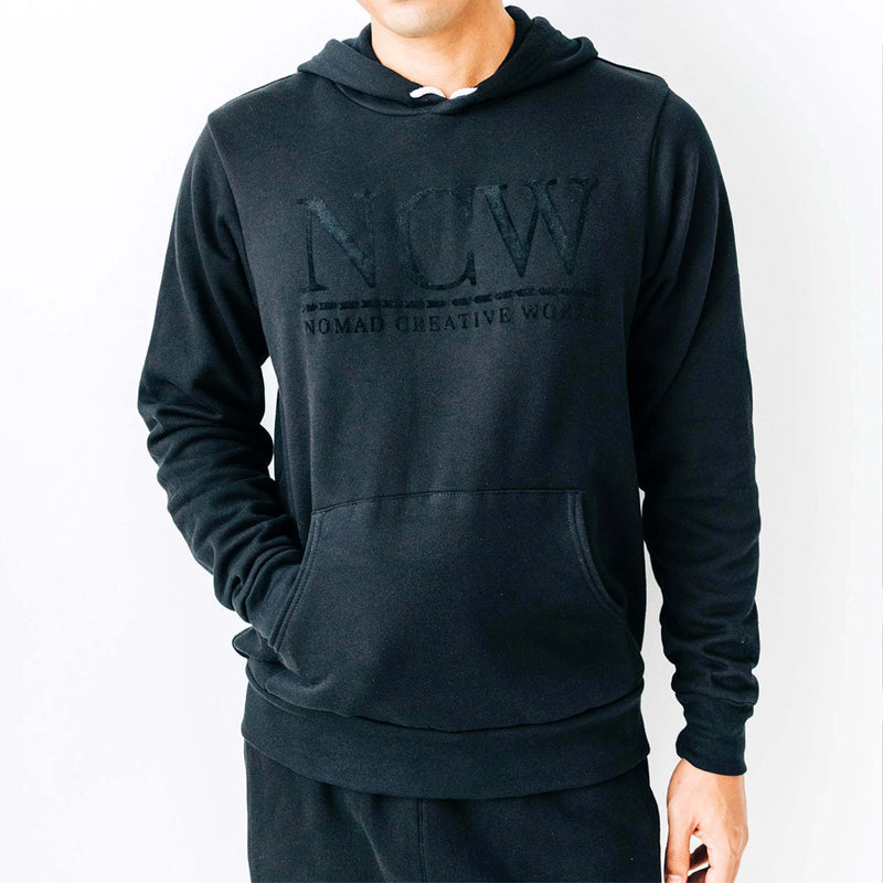 Tonal Mid-Weight Hoodie w Sueded Printing