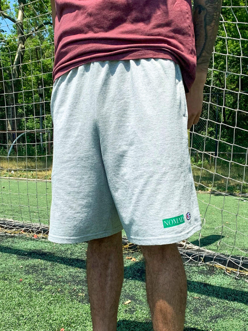 Modeled Nomad Creative Works Grey Heather Shorts with Emerald Printing