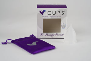 V-CUPS Model 1 Frosted Clear Menstrual Cup - Made in the USA - V-CUPS