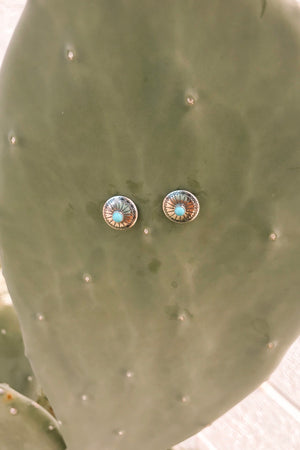 ER 28 SMALL CONCHO TURQUOISE STUD EARRINGS