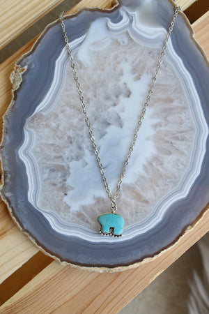31033 TURQUOISE BEAR CHARM NECKLACE