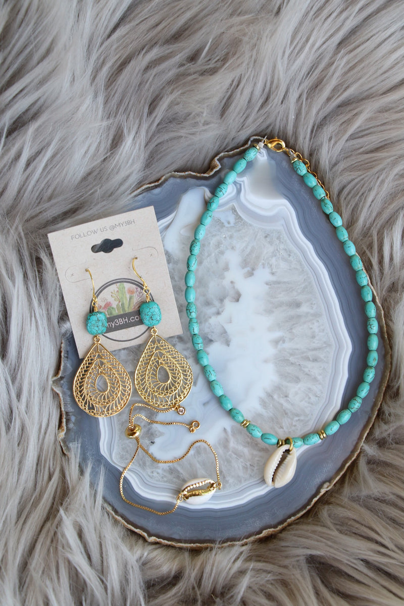 31040 TURQUOISE & SHELL CHOKER NECKLACE