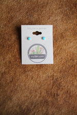 ER 26 STERLING SILVER TURQUOISE STUD EARRINGS