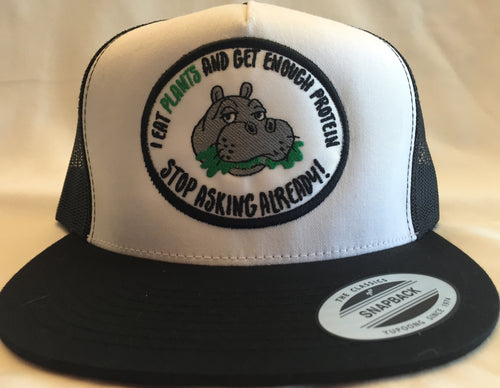 Limited Edition Hippo Patch Trucker Black on White