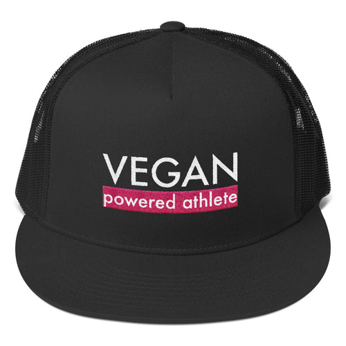 VEGAN powered athlete Pink Flat Bill Trucker Hat