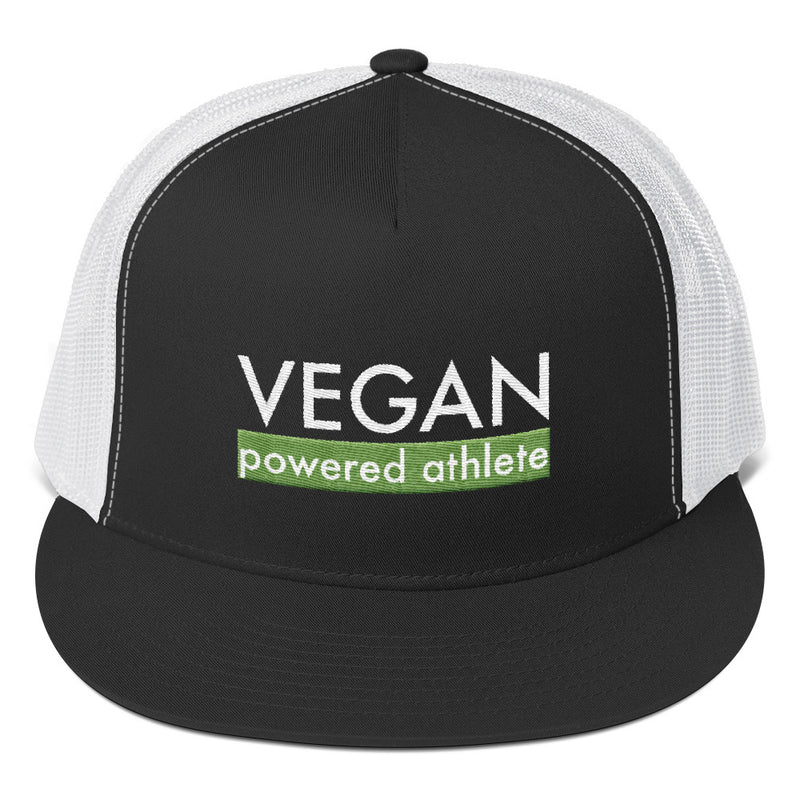 VEGAN powered athlete Green Flat Bill Trucker Hat