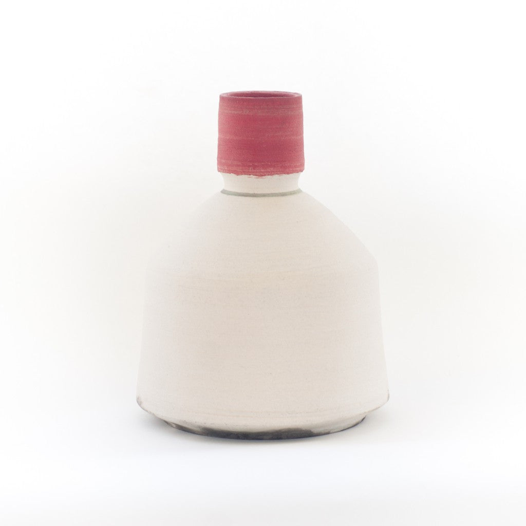 Raku Vase in Red & White