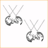 Deer Head Charm Couples Necklace