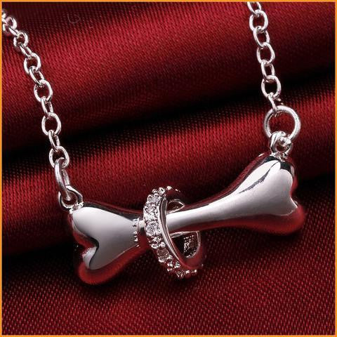 Silver Zircon Love Dog Bone Necklace