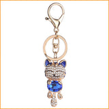 Lucky Smile Cat Crystal Keychain
