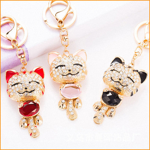 Lucky Smile Cat Crystal Keychain Free + Shipping