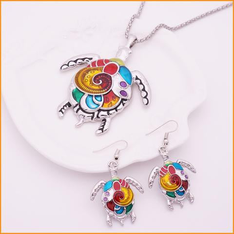 Turtle Necklace & Earrings Set
