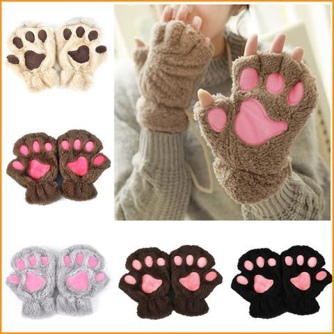Winter Cute Cat Paw Plush Gloves Free + Shipping