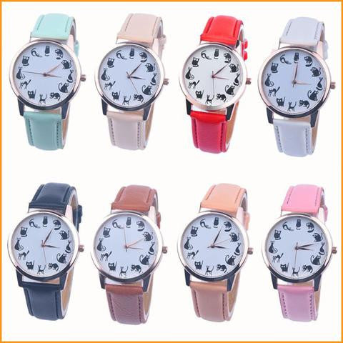 Lovely Cat Pattern Leather Quartz Watch